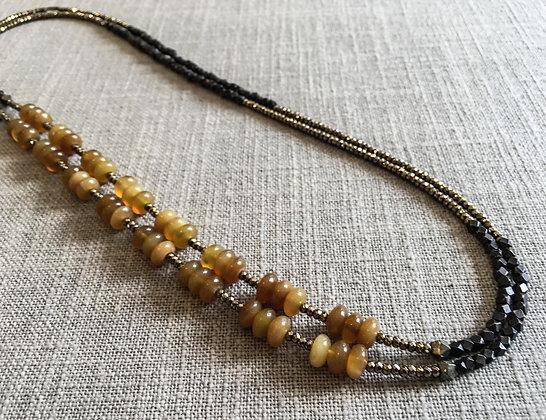 140 Double-Rondel Mix Colorblock Necklace