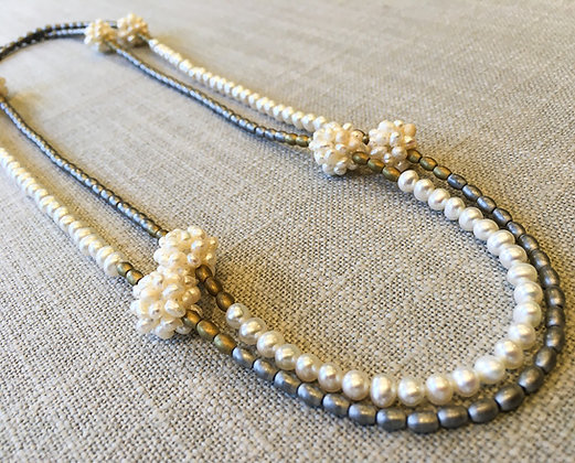 55  Pearl-Ball Colorblock Necklace(Silver Emphasis)
