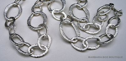 572 Hammered Organic Link Necklace