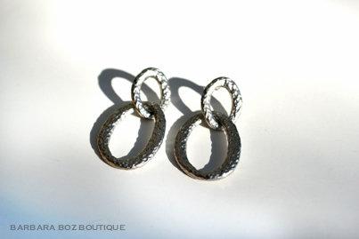 242B Hammered Organic 2-Link Earring