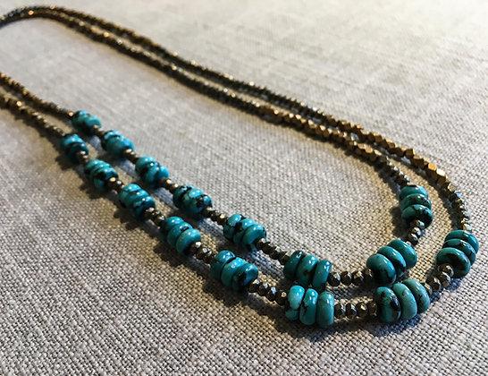 122 Double-Rondel Mix Colorblock Necklace