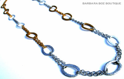 878 Hammered Organic Medium Link & Chain Necklace Medley