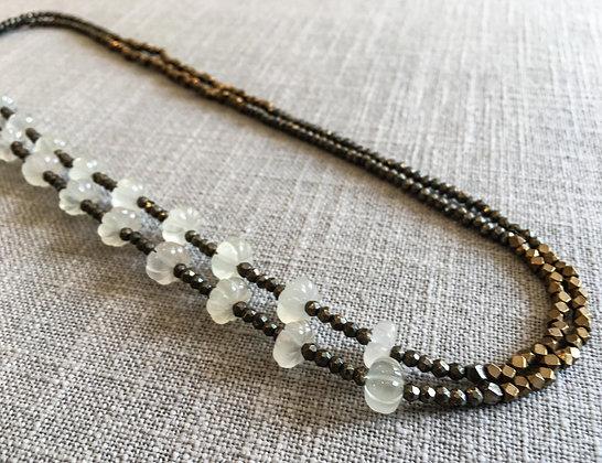 133 Double-Rondel Mix Colorblock Necklace