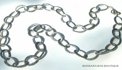 581B Hammered Organic Link Necklace/Belt