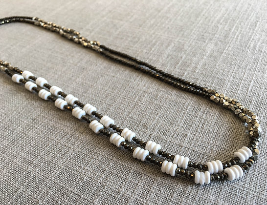 151 Double-Rondel Mix Colorblock Necklace