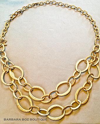 570B Hammered Organic Link Necklace/Belt