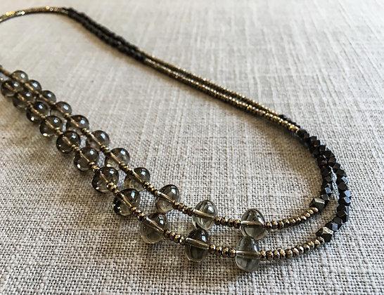 136 Double-Rondel Mix Colorblock Necklace