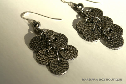 319 Small Hammered Charm Drop on Ring Earring