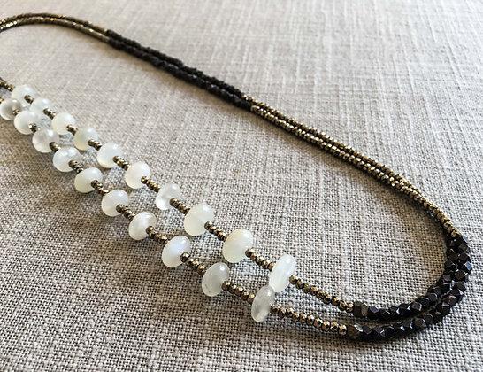 144 Double-Rondel Mix Colorblock Necklace