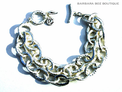 197A Hammered Organic Small Link Bracelet