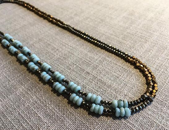 124 Double-Rondel Mix Colorblock Necklace