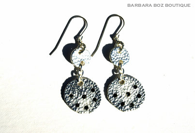 931 Small & Large Hammered Charm Earring