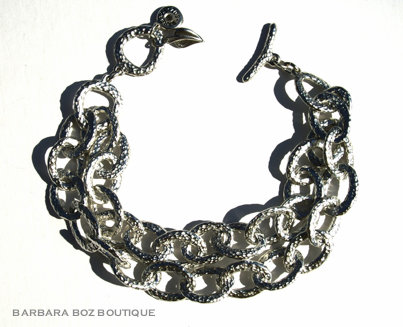 197B Hammered Organic Small Link Bracelet