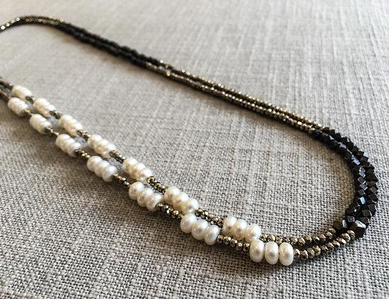 146 Double-Rondel Mix Colorblock Necklace