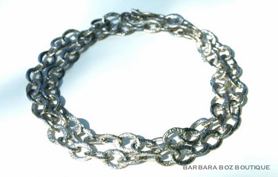 585A Hammered Organic Small Link Necklace
