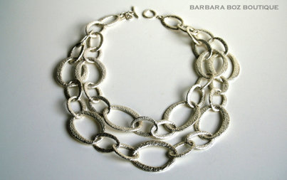 566 Hammered Organic Link Necklace