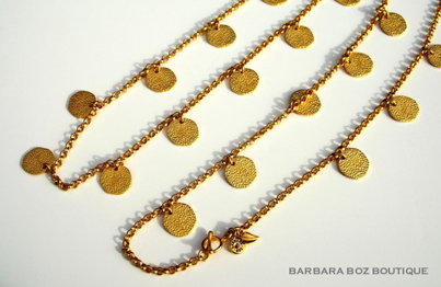 688B Chain with Large Hammered Charms