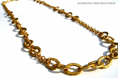 870 Hammered Organic Small Link & Chain Necklace Medley