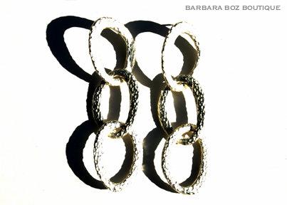 927 Hammered Organic 3 Medium Link Long Earring