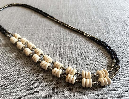 139 Double-Rondel Mix Colorblock Necklace