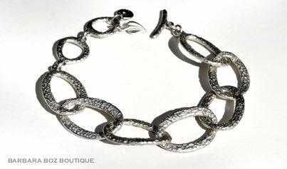 179 Hammered Organic Medium Link Bracelet