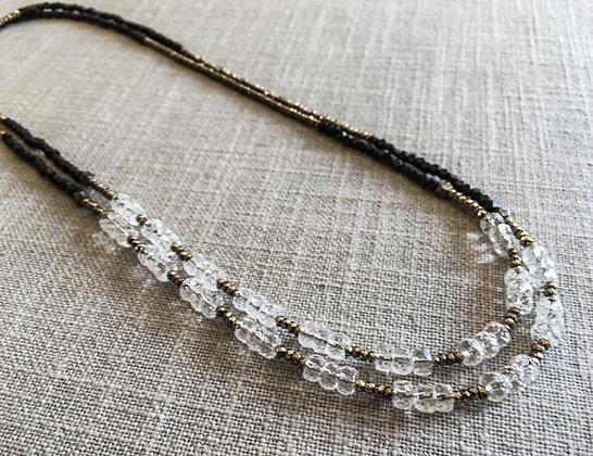 143 Double-Rondel Mix Colorblock Necklace
