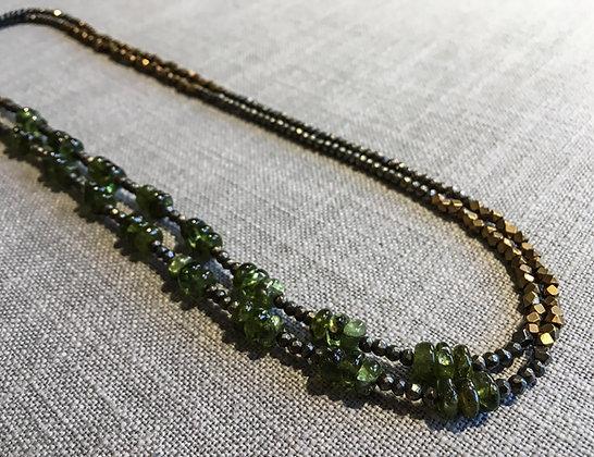 130 Double-Rondel Mix Colorblock Necklace
