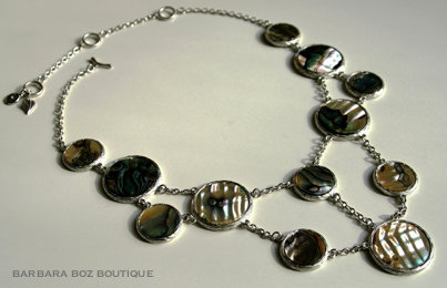 770 Large Shell Circle Mix Necklace (Natural Abalone)
