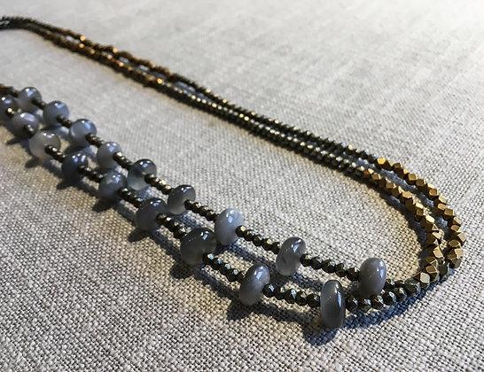 127 Double-Rondel Mix Colorblock Necklace