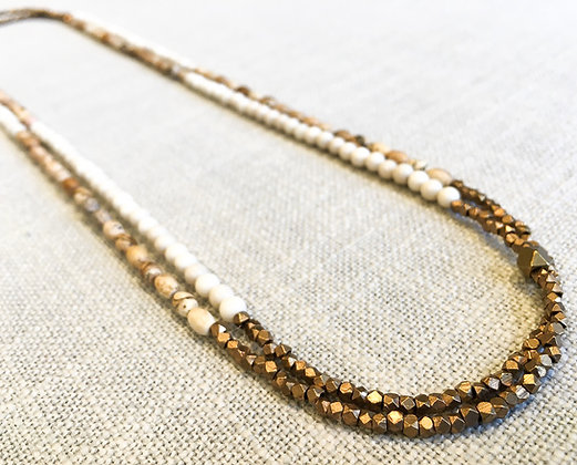 71  Three-Color Stripe B Colorblock Necklace