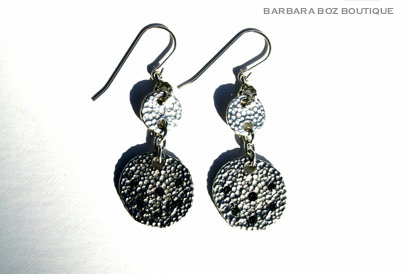 932 Small & Large Hammered Charm Earring