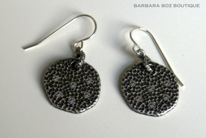 285A Large Hammered Charm Earring