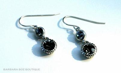 459D Crystal Bezel Charm Earring
