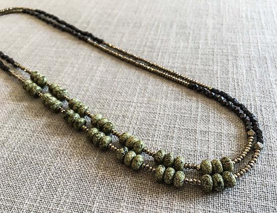 142 Double-Rondel Mix Colorblock Necklace