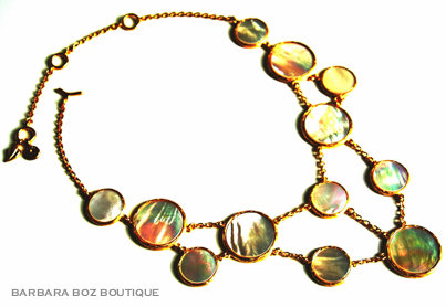 771 Large Shell Circle Mix Necklace (Mother of Pearl)