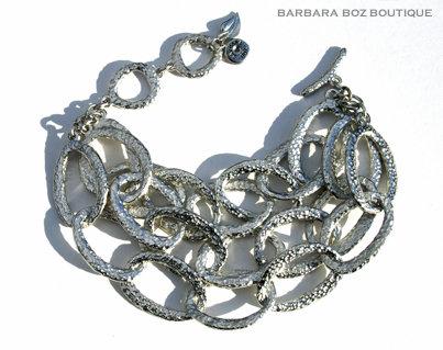 197E Hammered Organic Medium Link Bracelet