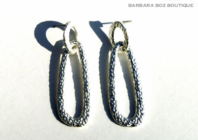 919 Hammered Organic 2 Link Long Earring