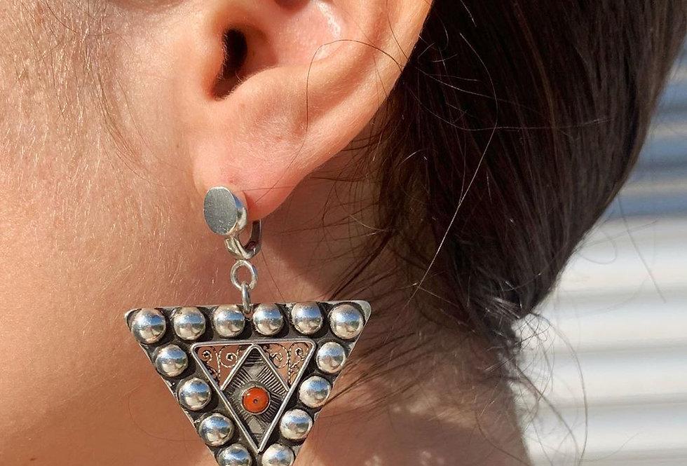 Handmade Fibula Studded Amazigh Earrings