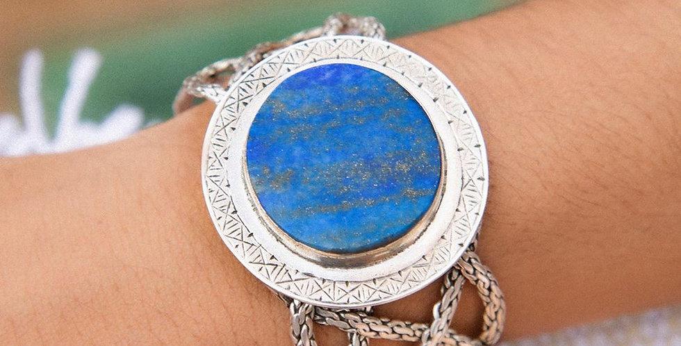 Handmade Lapis Lazuli Braided Cuff Bracelet