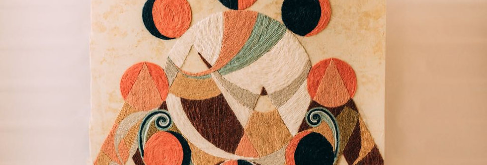 Handmade Original Yarn Painting - Pink Moon in the Desert