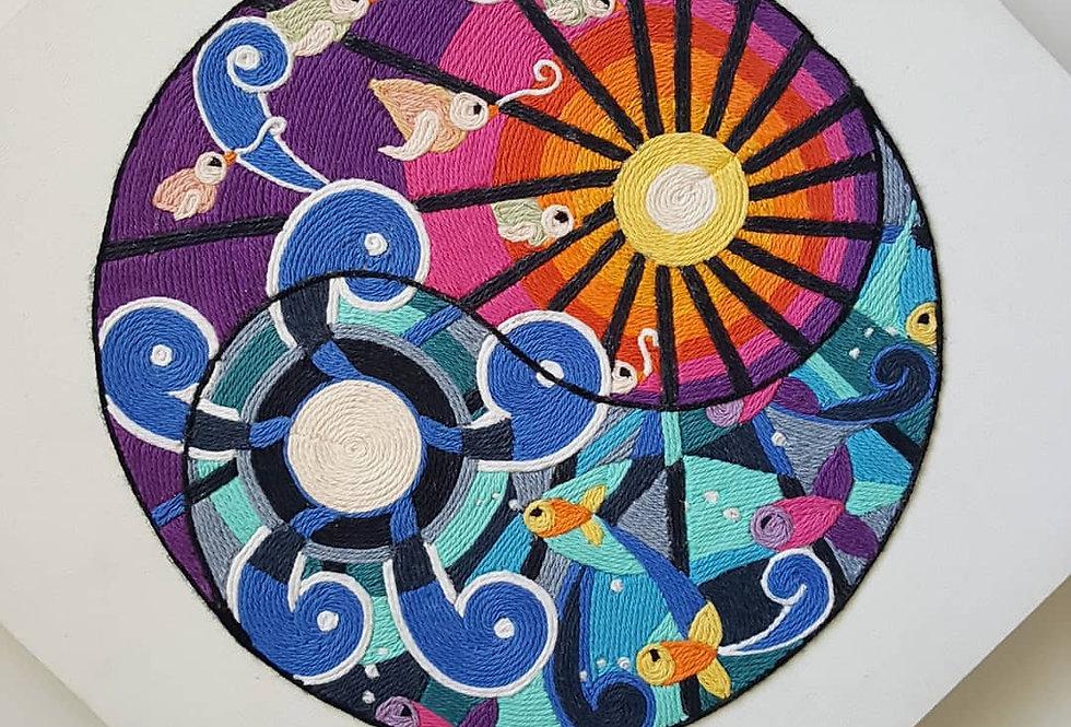 Handmade Original Yin-Yang Yarn Painting