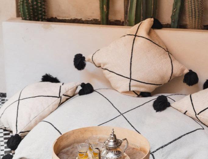 Handmade Moroccan Black & White Kilim Floor Pillow with Pompoms