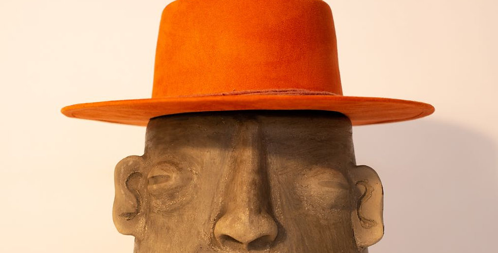 Handmade Oaxaca Suede Flat Top Hat