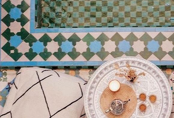 Handmade Moroccan Black & White Pouf