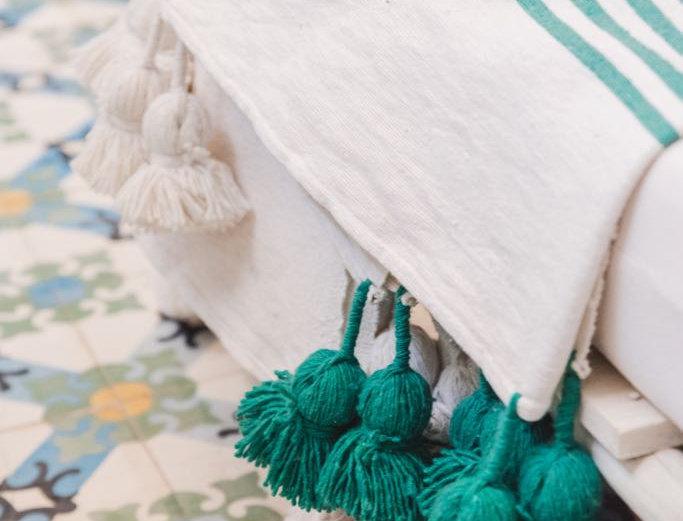 Handmade Moroccan Striped Pompom Throw Blanket