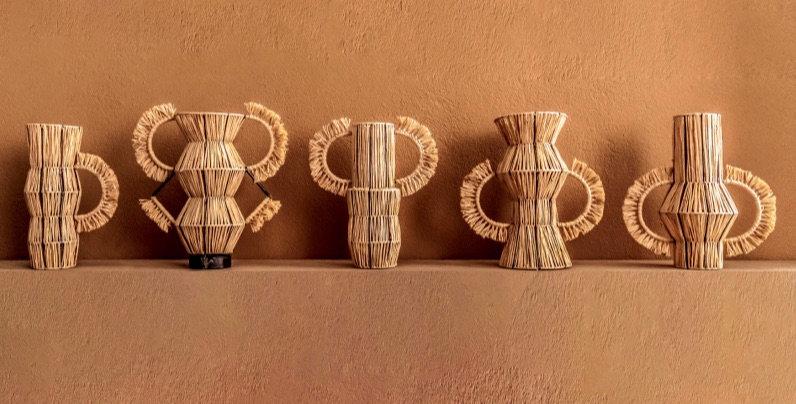 Handmade Ceramic and Rafia Vase
