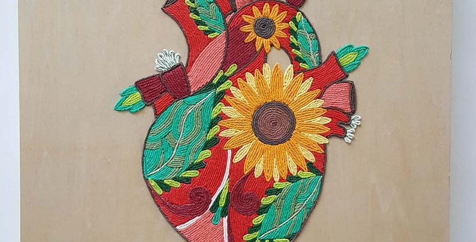Handmade Original Yarn Painting - Corazon Delator