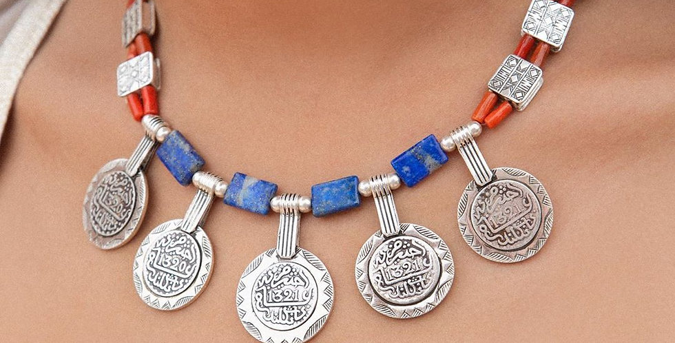 Handmade Berber Style Blue-Coral Coins Necklace