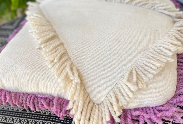Handmade Abstract Cushions with Wool Details