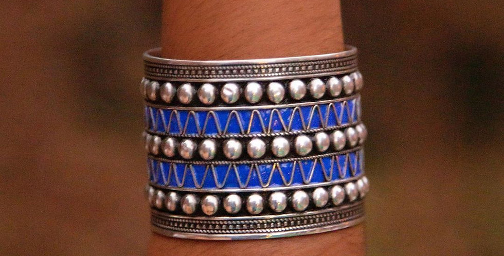 Handmade Deep Blue Studded Cuff Bracelet